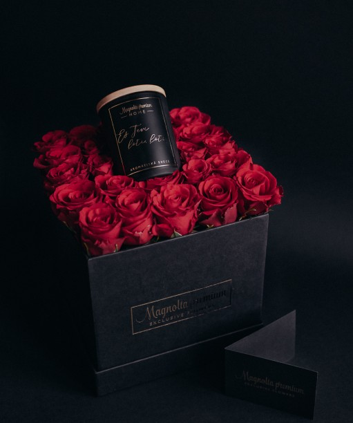 flower box with red roses